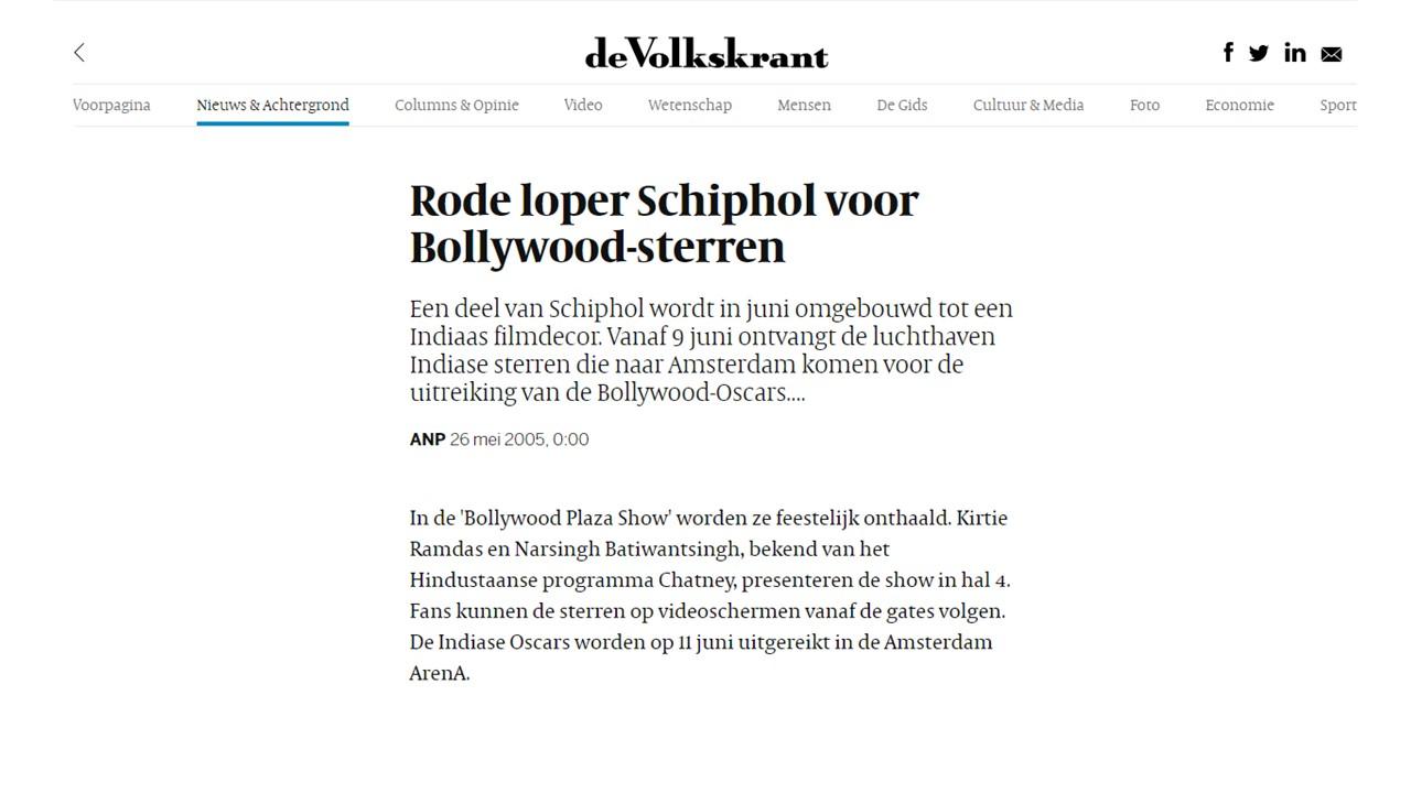 Volkskrant: Rode loper Schiphol voor Bollywood-sterren